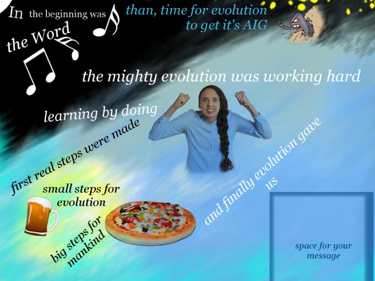 lustige Darstellung für Werbung. Es geht um die Evolution und am Ende gibt es Pizza und Bier als größten Schritt der Menschheit.