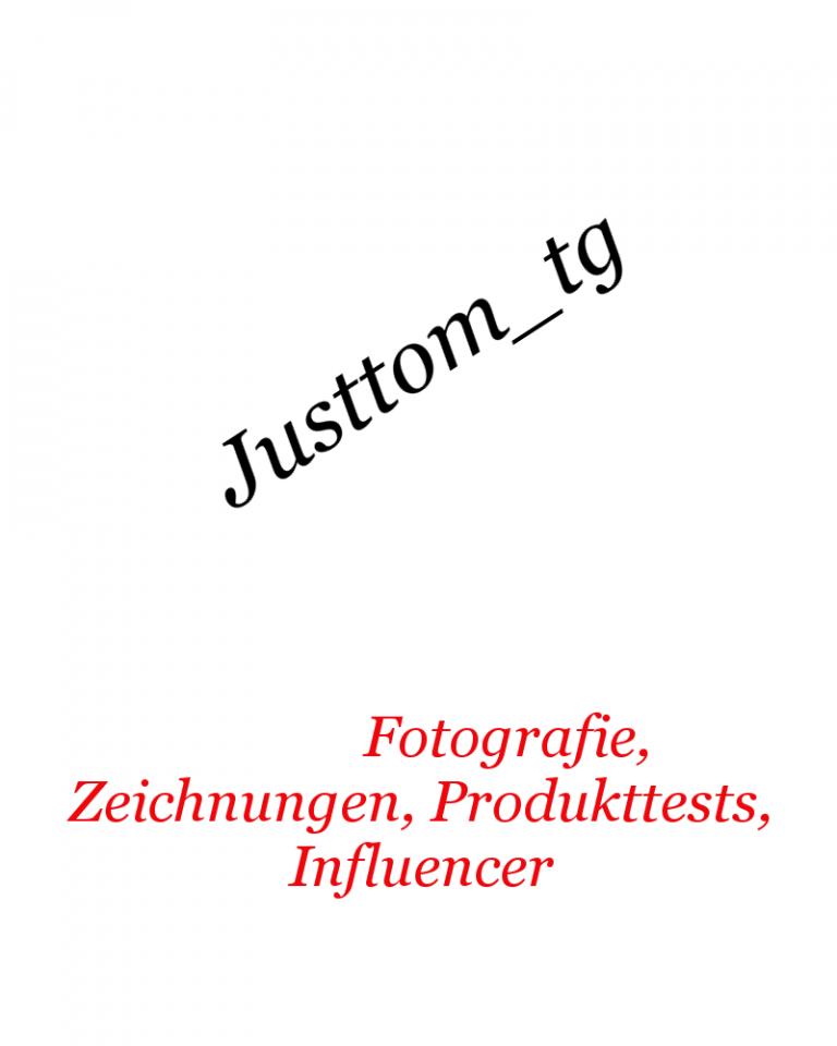 Homepage von Justtom, der Name in schwarz, darunter in rot, Fotografie, Zeichnungen, Produkttests und Influencer.